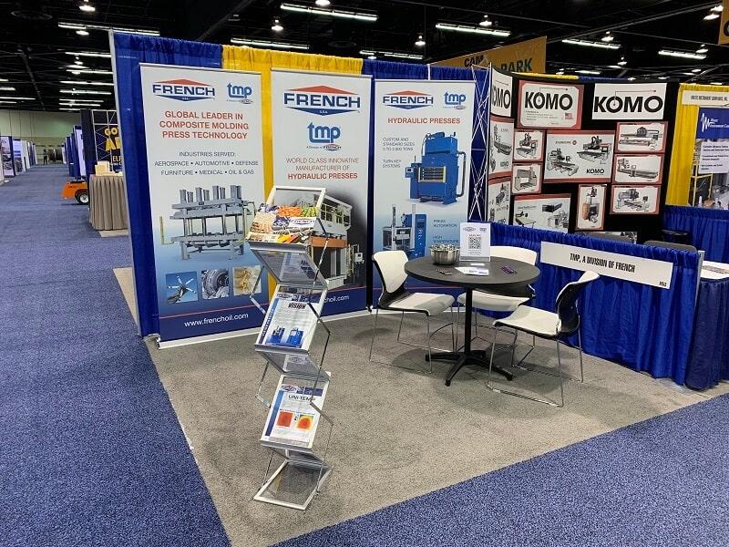 texas hold'em's Hydraulic Press Display at CAMX